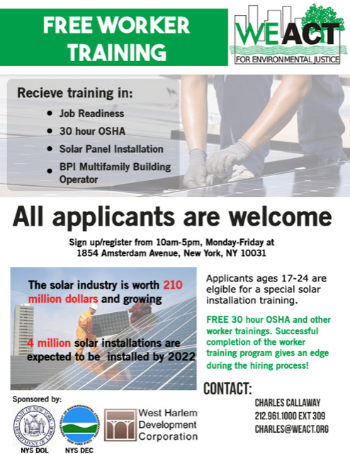 Free Worker Training for OSHA Certification 2018 — West Harlem ...