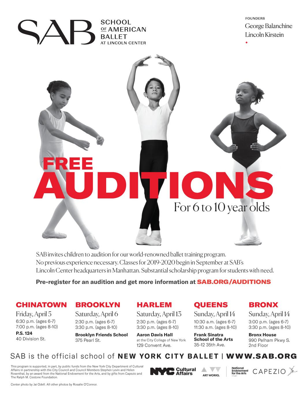 Free Ballet Auditions for 6-10 Year OldsWest Harlem